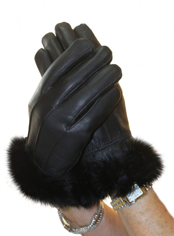 Lamb Leather Gloves with Rabbit Fur Trim