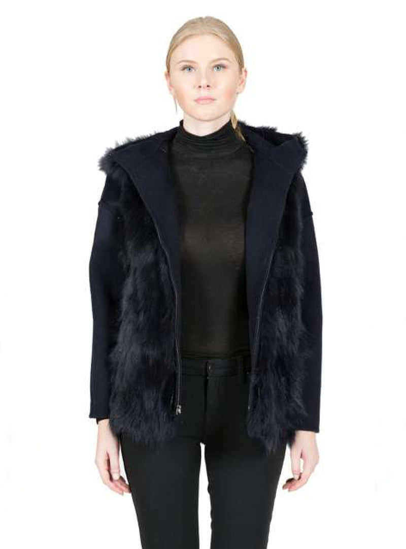 Reversible Cashmere Jacket with Detachable Fox Fur Lining and Hood