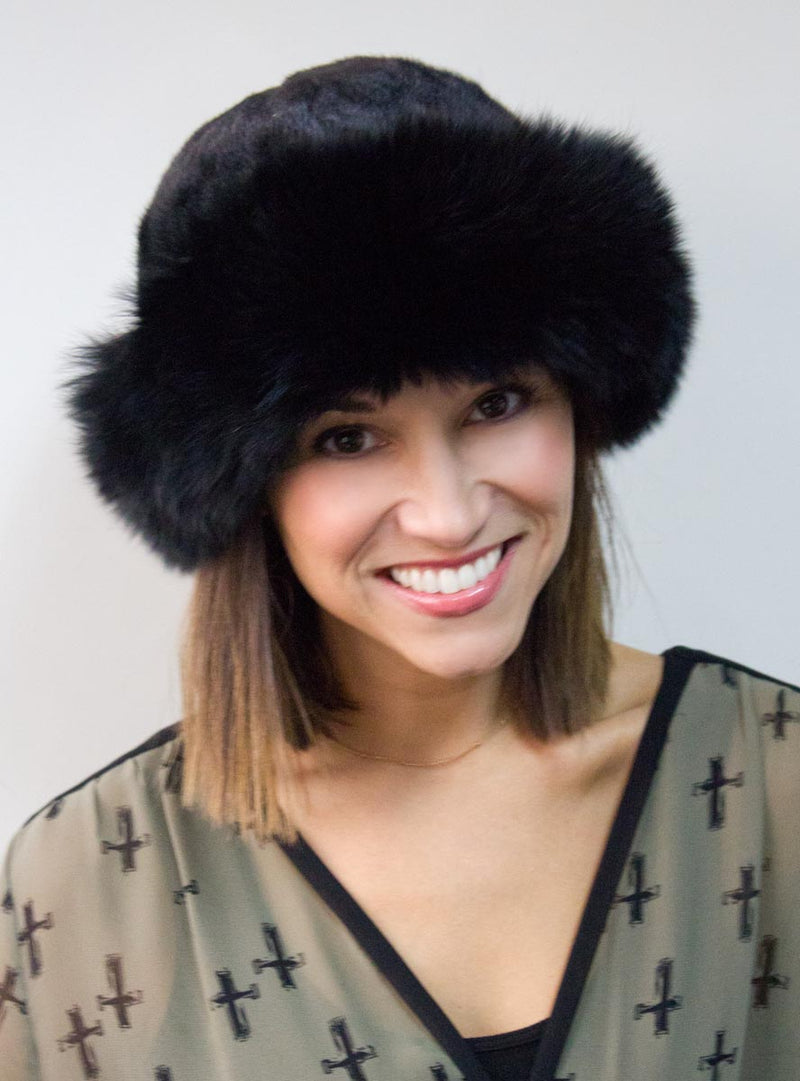 Mink Fur Hat with Fox Fur Trim