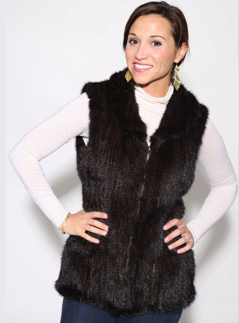 Knitted Mink Fur Vest with Zip Front