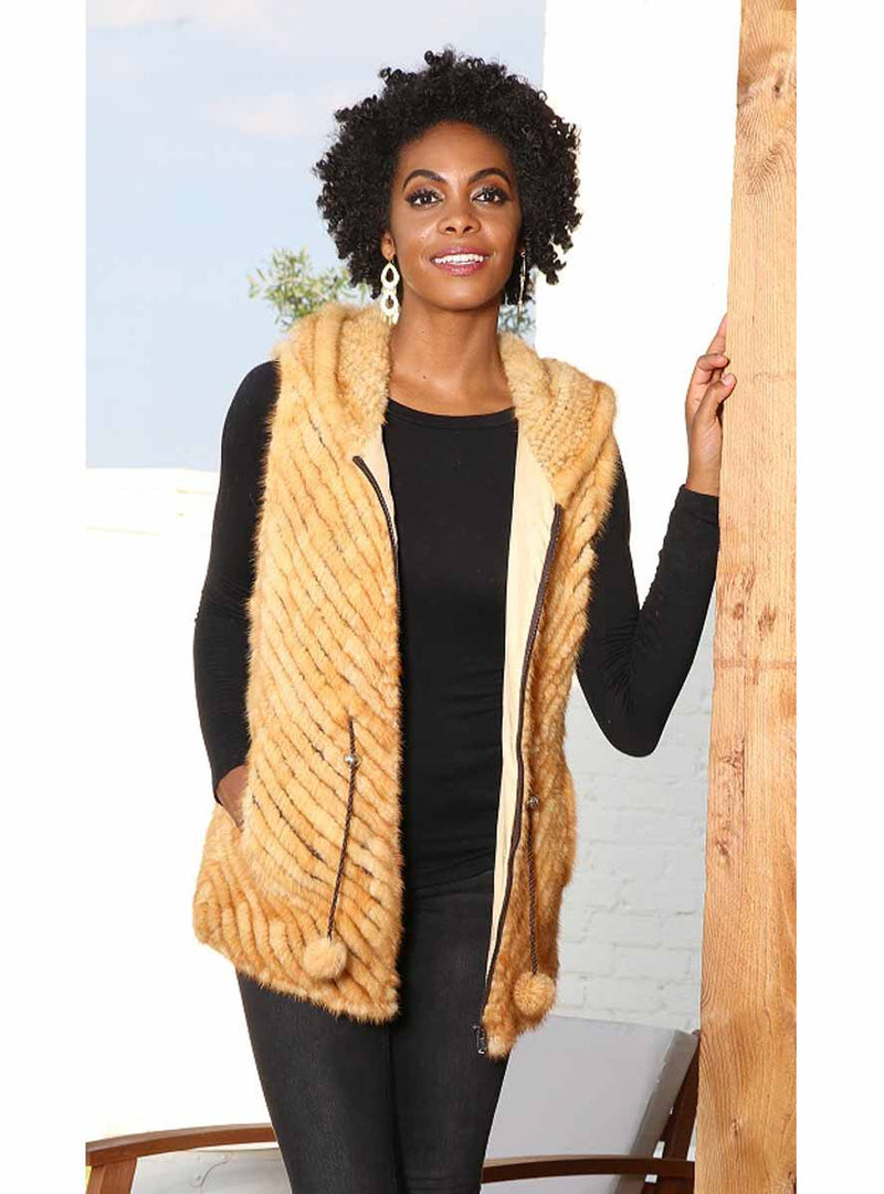 women's knitted mink fur vest with hood