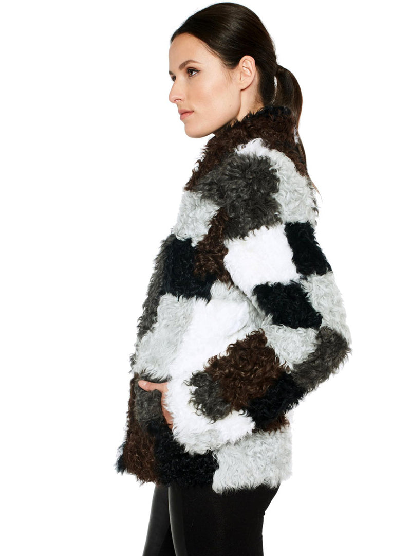 Multicolor Full Skin Lamb Fur Jacket with Patchwork Design