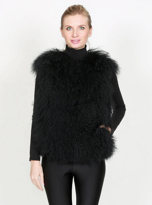 Women's Black Tibetan Curly Lamb Fur Vest