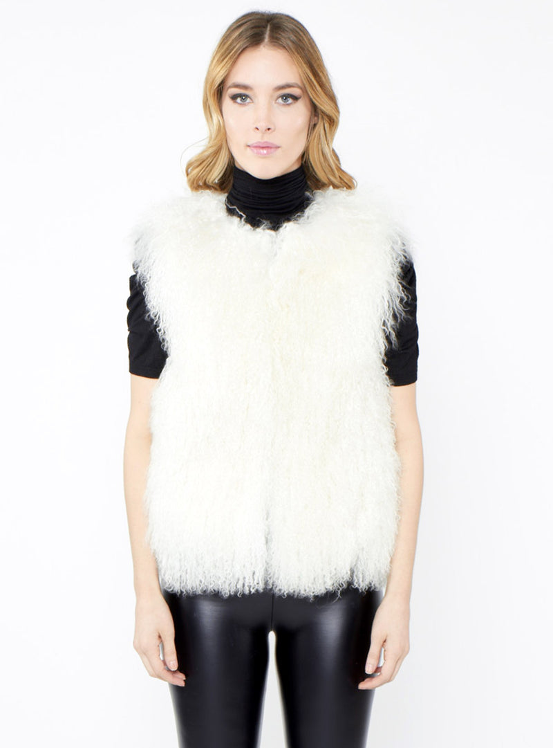 Women's Cream Tibetan Curly Lamb Fur Vest