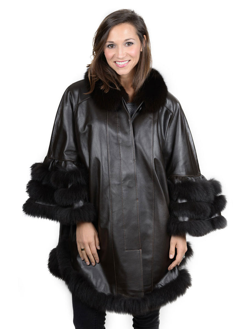 Lamb Leather Cape with Fox Fur Trim