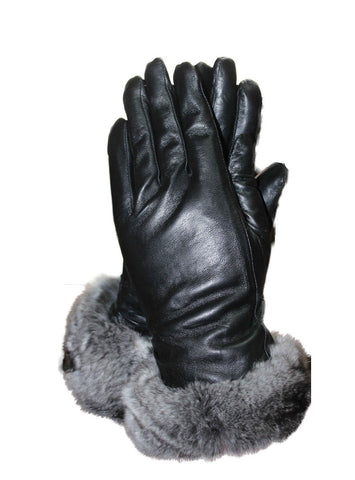 Lamb Leather Gloves with Chinchilla Fur Trim