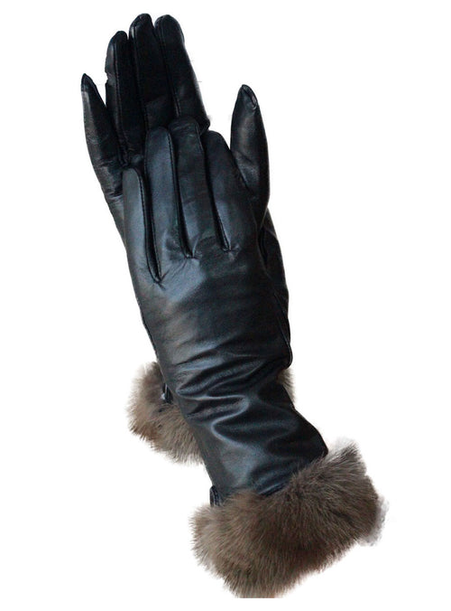 Leather Gloves with Sable Trim