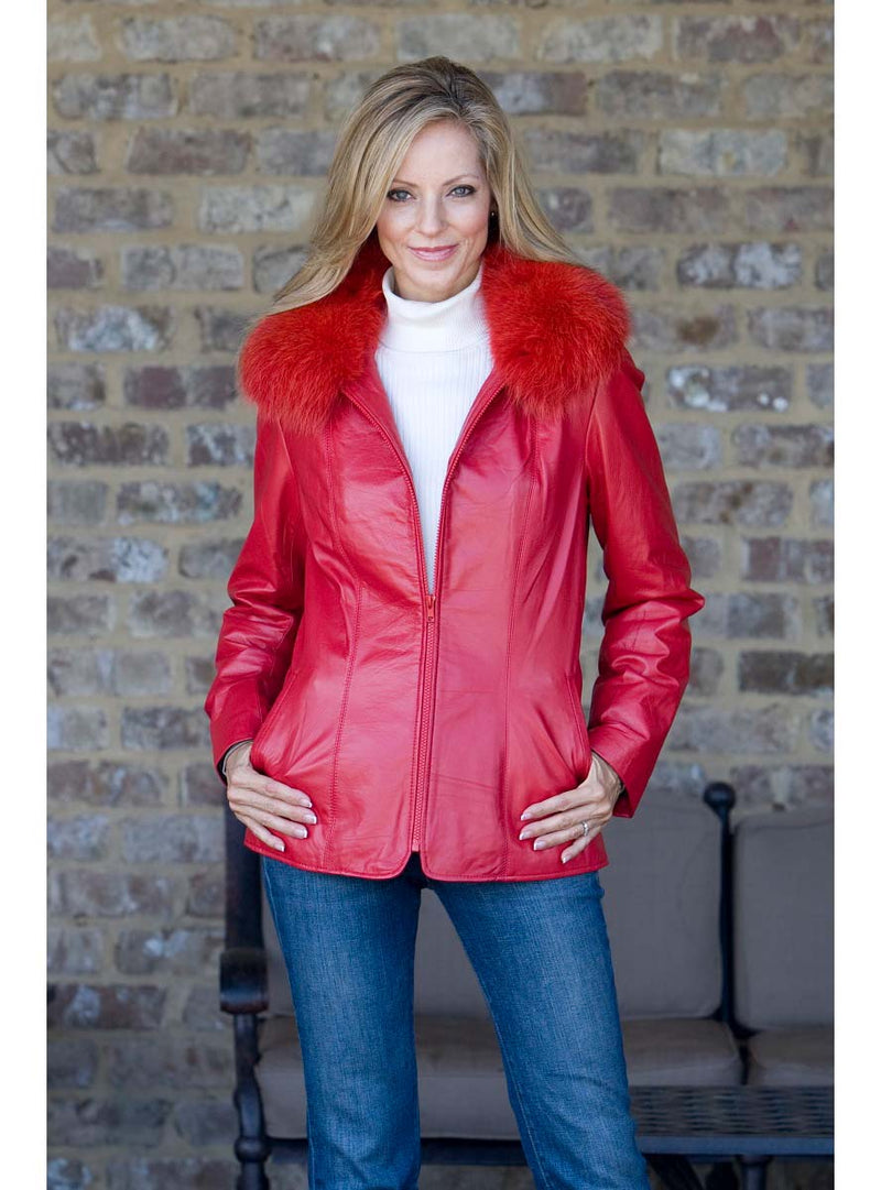 Women's leather jacket with fur collar
