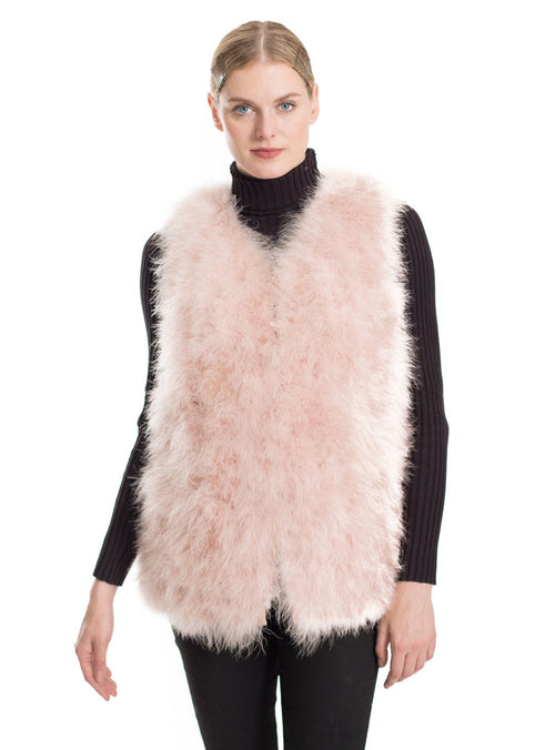 Women's Blush Knitted Ostrich Feather Fur Vest