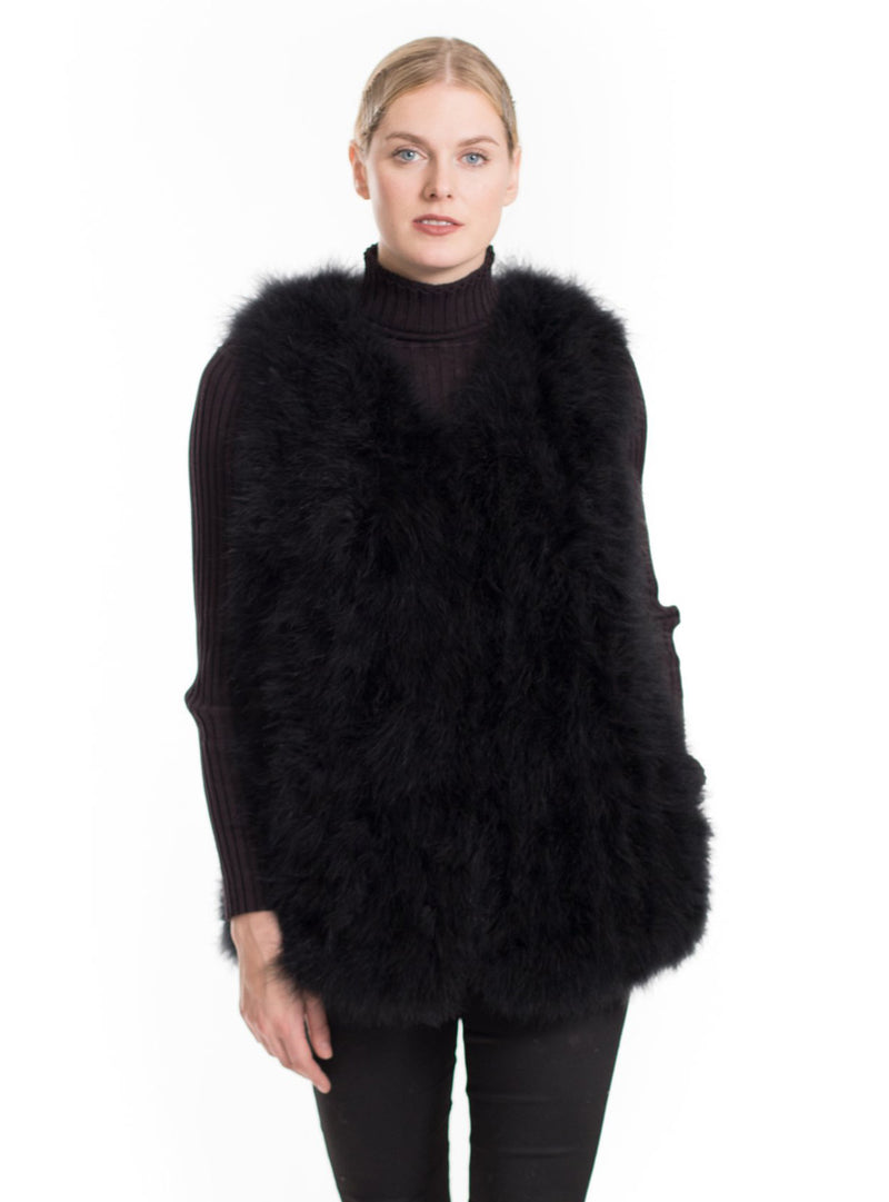 Women's Black Knitted Ostrich Feather Fur Vest