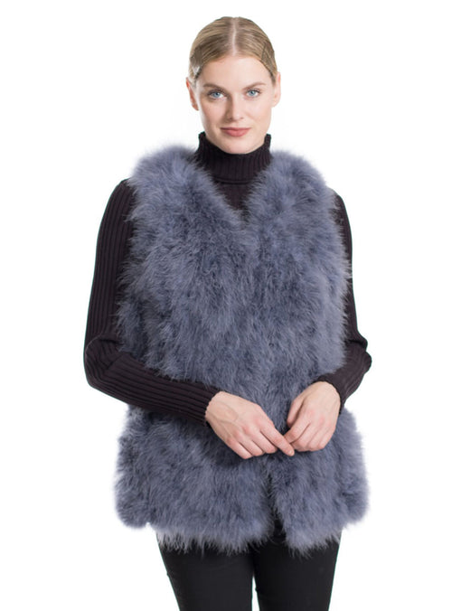 Women's Grey Knitted Ostrich Feather Fur Vest