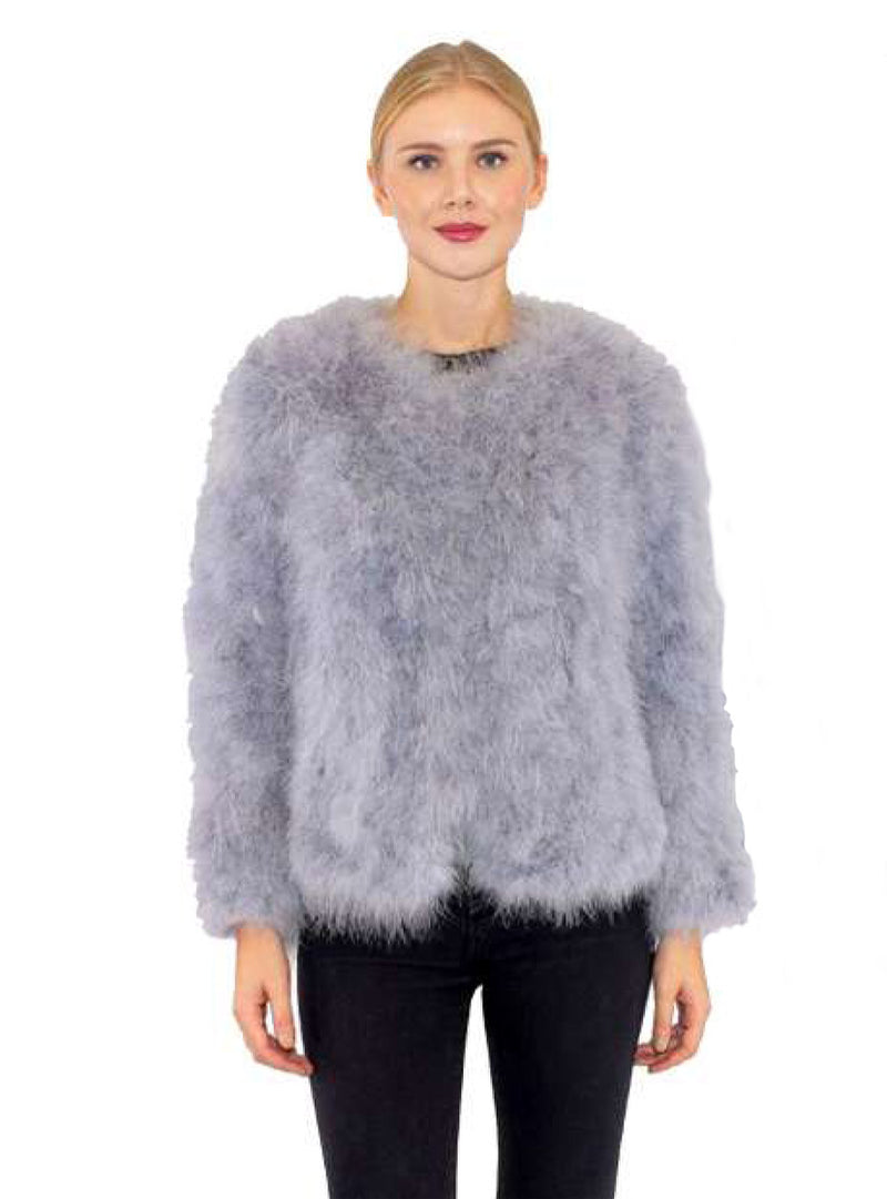 Baby Blue Ostrich Feather Jacket