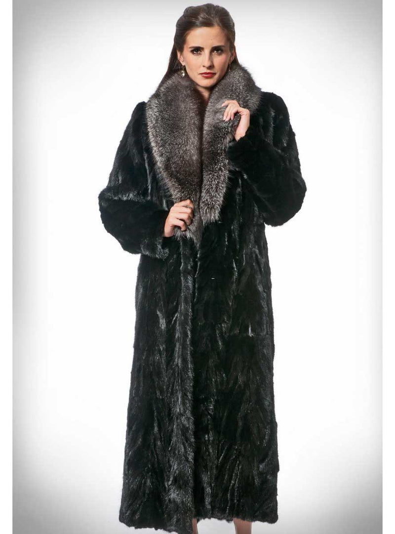Women's Mink Fur Coat, Fox Fur Collar
