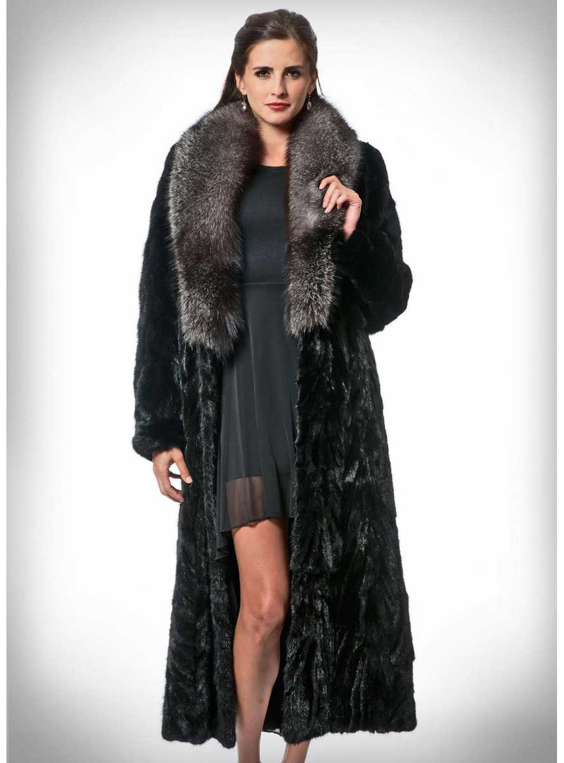 Mink Fur Coat with Fox Fur Collar