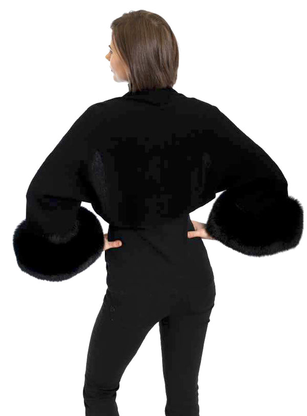 Women's Cashmere Blend Shrug with Over-sized Fox Fur Cuffs