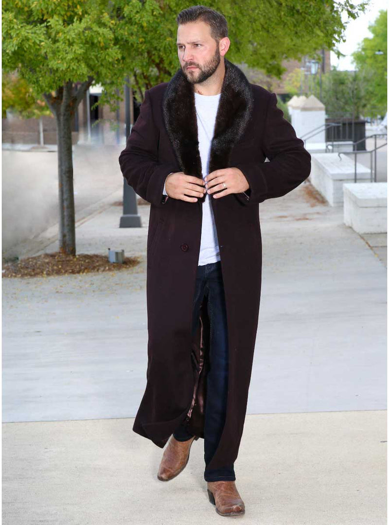 men's cashmere coat with mink fur collar