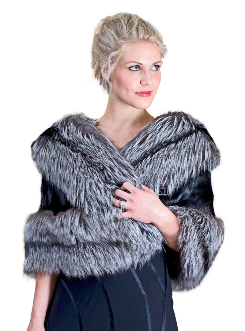Women's Mink Fur Cape with Fox Fur Trim