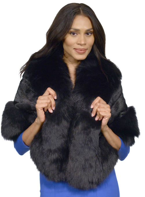 Black Mink Fur Cape with Fox Fur Trim