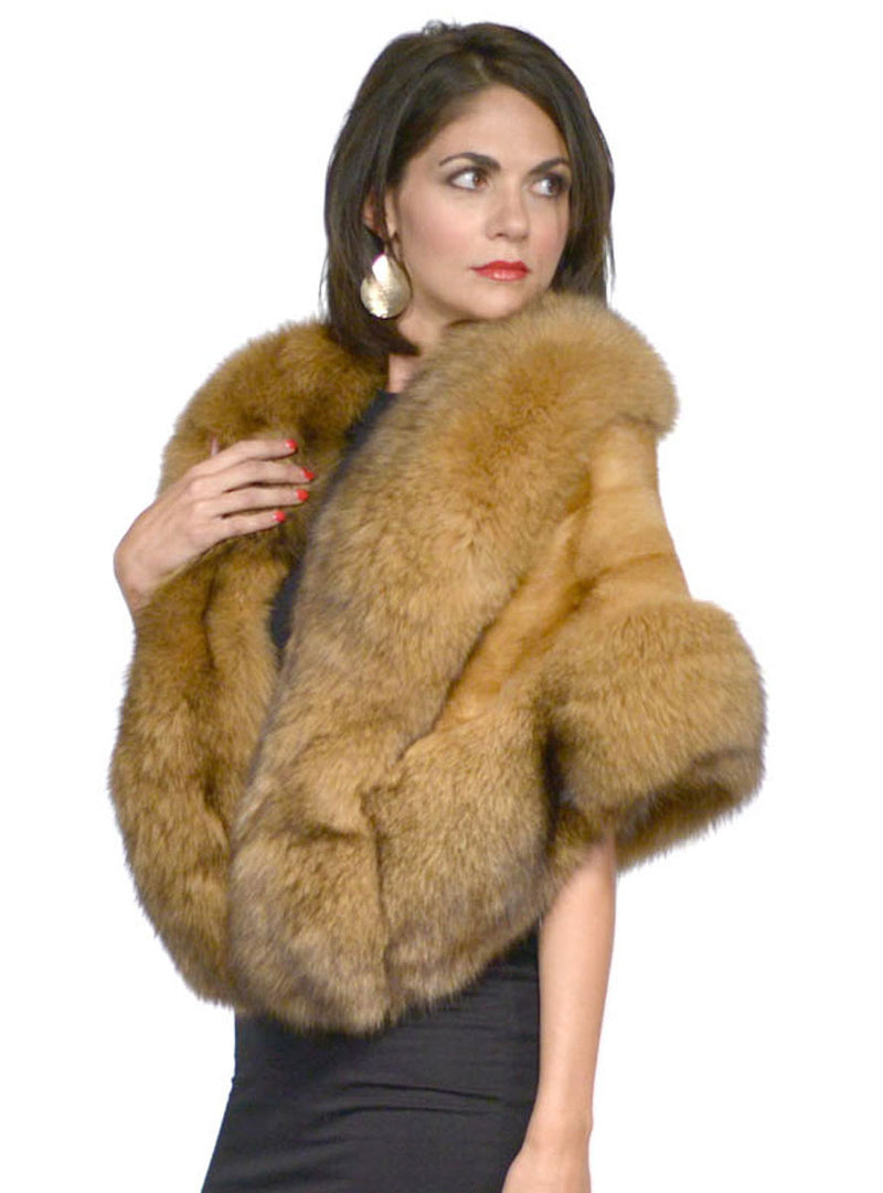 Whiskey Mink Fur Cape with Fox Fur Trim