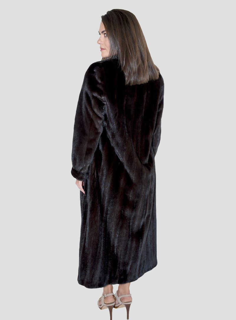 female mink fur coat with shawl collar & bracelet cuffs