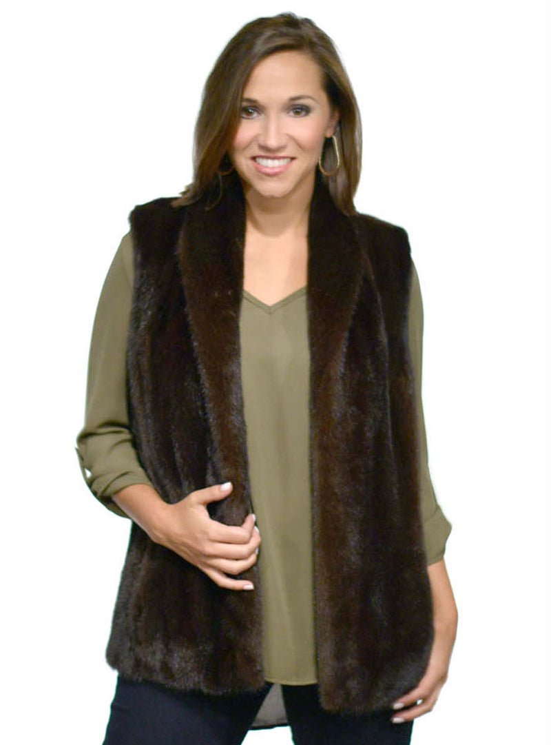 Ranch Mink Fur Vest with Shawl Collar