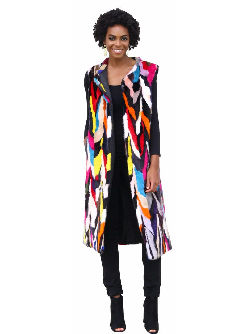 Multicolor Long Mink Fur Vest