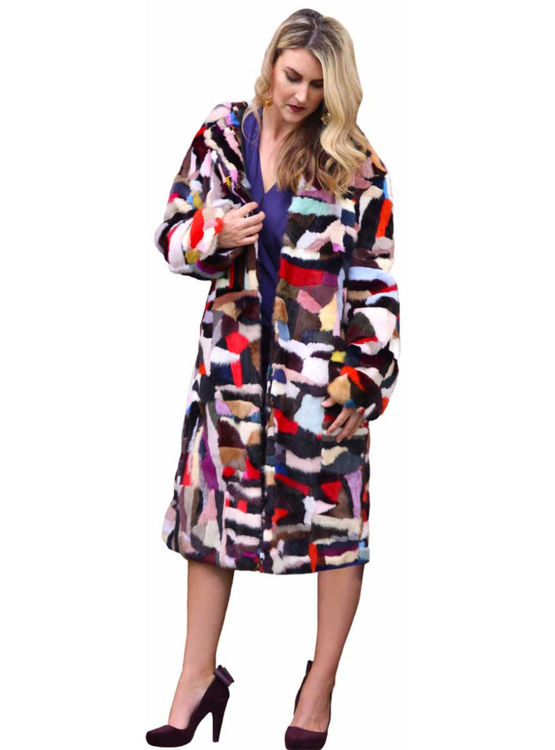 Multicolor Mink Fur Coat with Hood