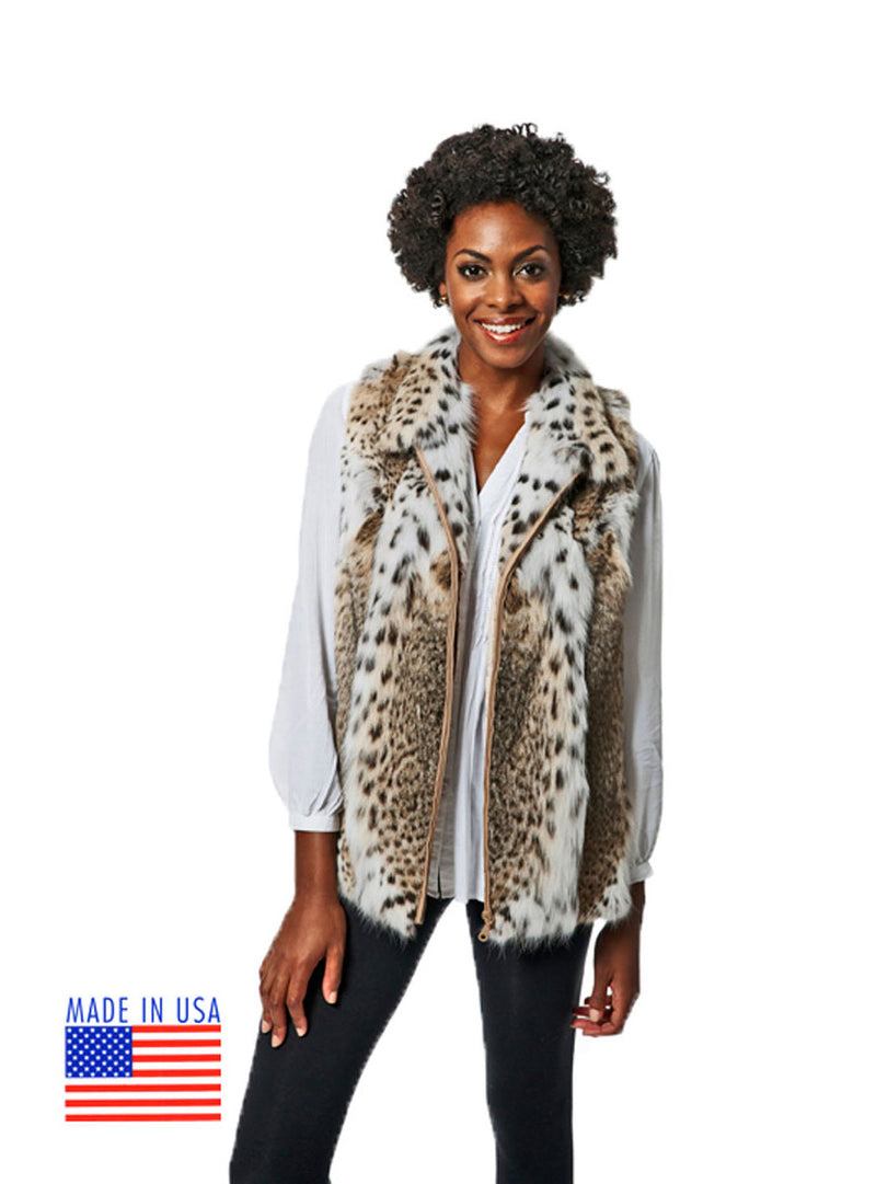 Natural Bobcat Fur Vest - Made in USA