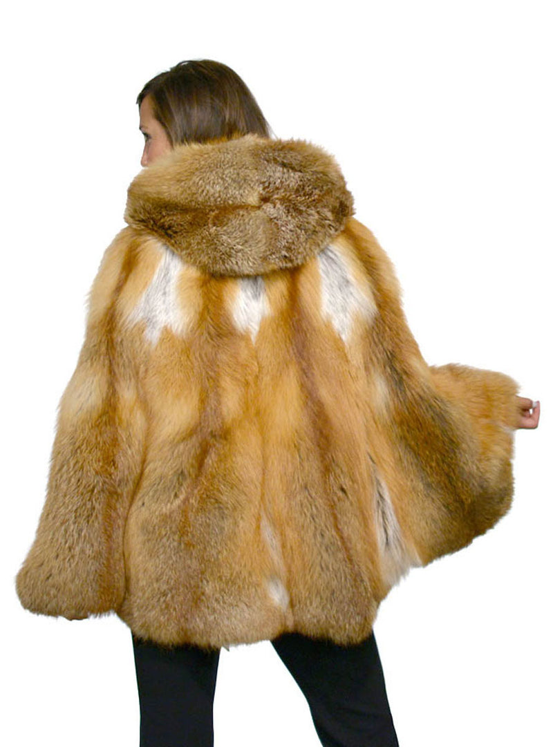 Natural Red Fox Fur Cape with Hood