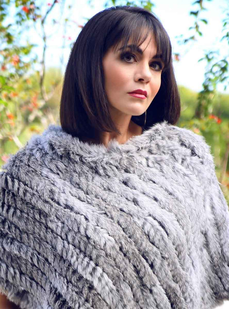 Women's Grey Knitted Rabbit Fur Poncho with Fringe