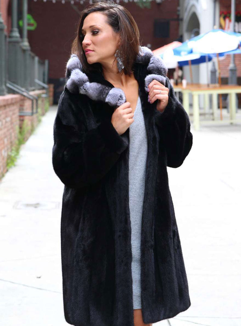 women's mink fur jacket, chinchilla fur hood