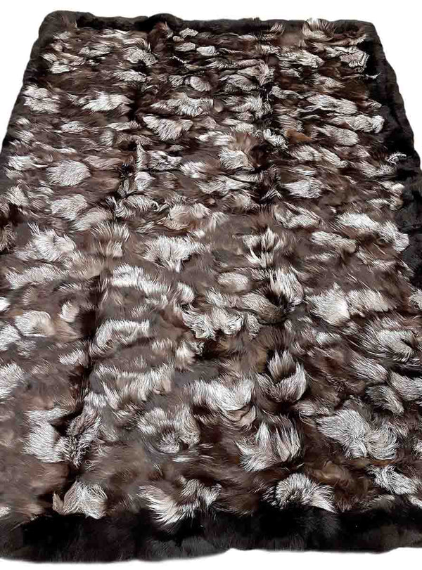 Silver Fox Fur Blanket with Black Fox Fur Trim