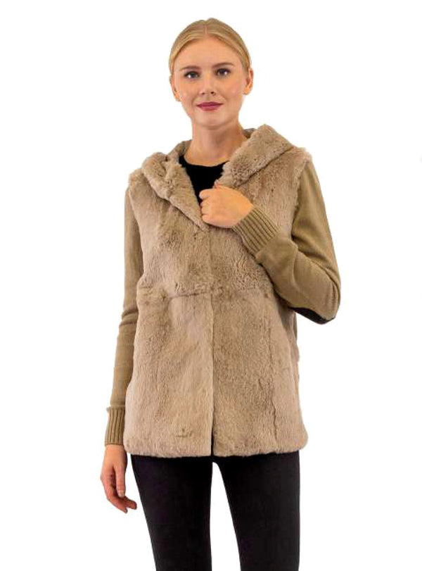 Wool Blend Jacket with Rex Rabbit Fur Front Panel & Hood and Leather Patches on Elbows