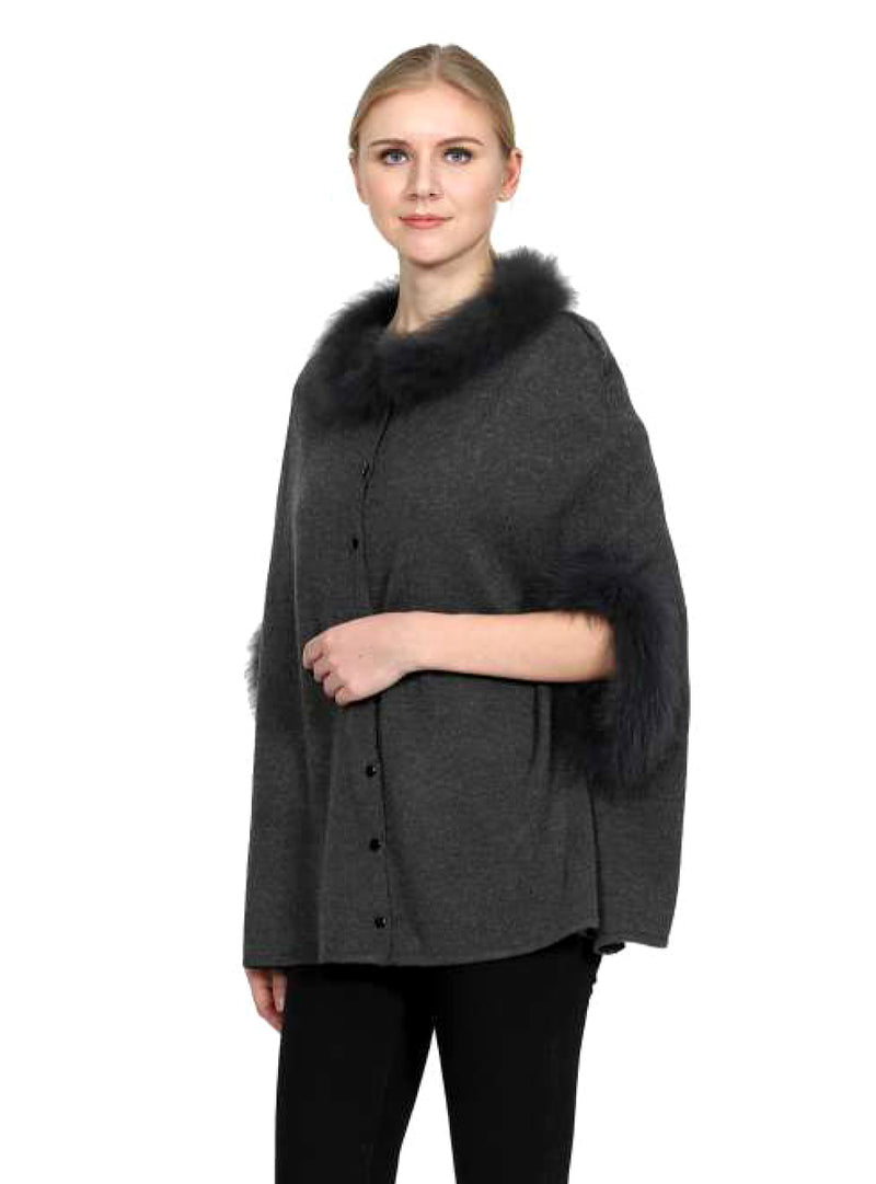 Women's Grey Wool Blend Cape with Fox Fur Trim & Button Front