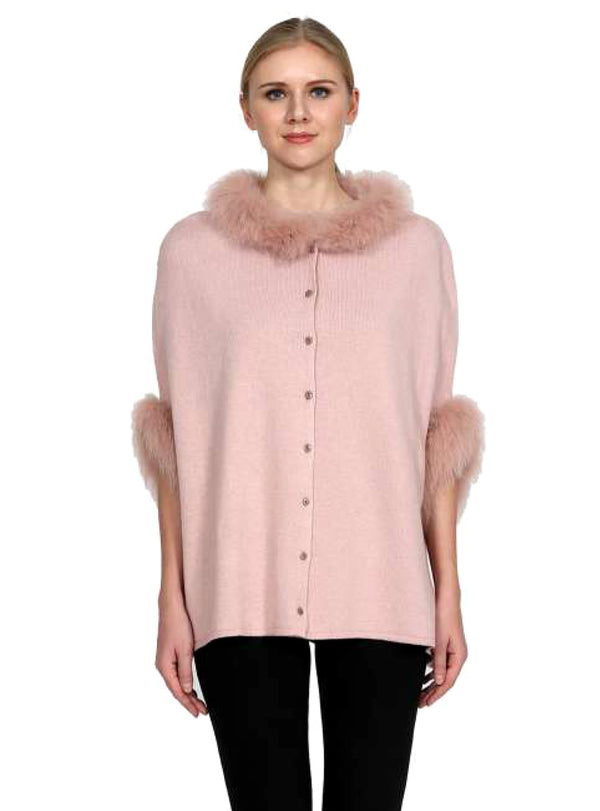 Women's Pink Wool Blend Cape with Fox Fur Trim & Button Front