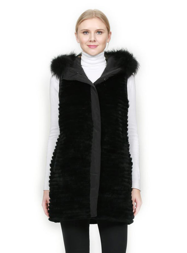 Reversible Rex Rabbit Fur Vest with Goose Down Fill & Silver Fox Fur Trim Hood
