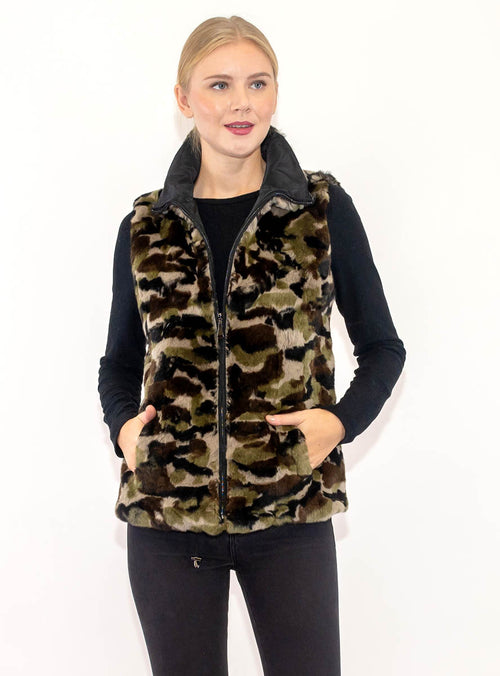 Women's Reversible Rex Rabbit Fur Vest with All-Weather Lining