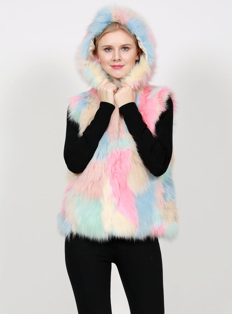 Women's Light Pastel Multicolor Fox Fur Vest with Hood