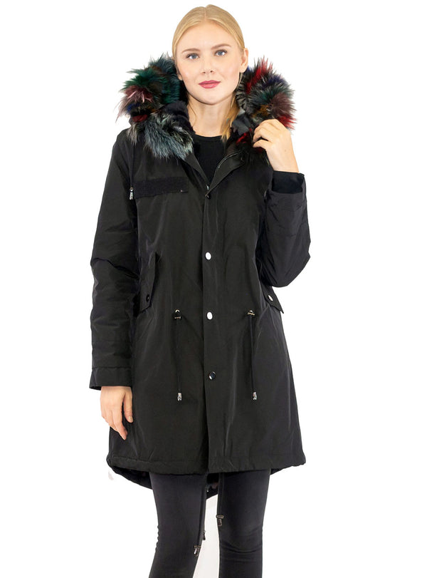 Women's Black Jacket with Multicolor Rex Rabbit Fur Lining & Fox Fur Trimmed Hood