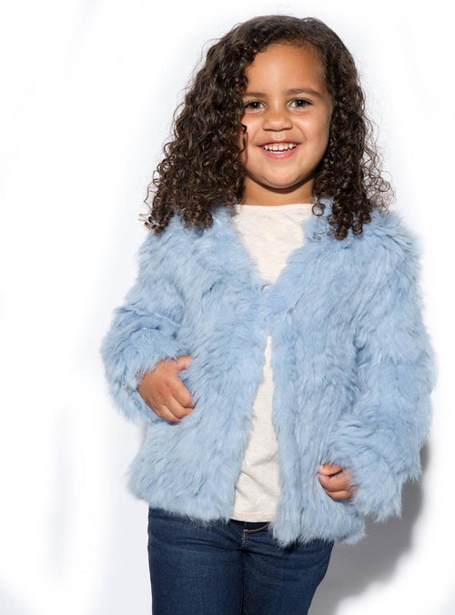 Children's Blue Knitted Rabbit Fur Jacket