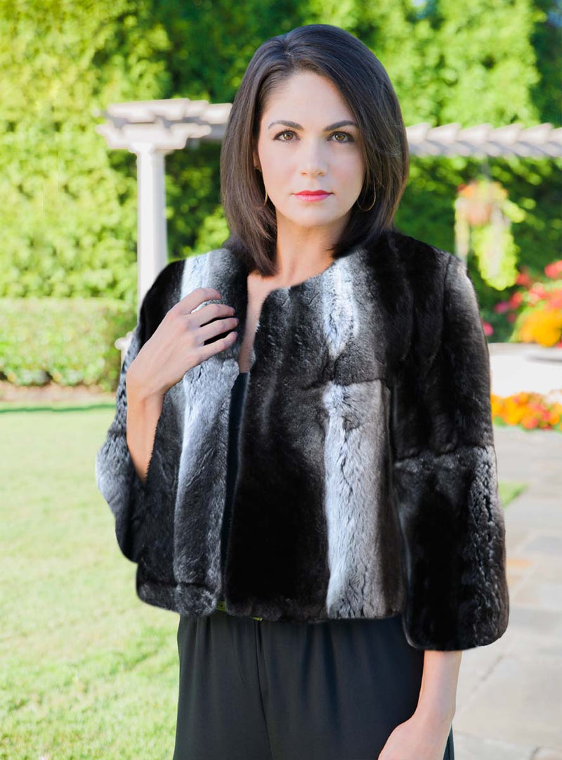 USA Made Full Skin Chinchilla Fur Wedding Capelet