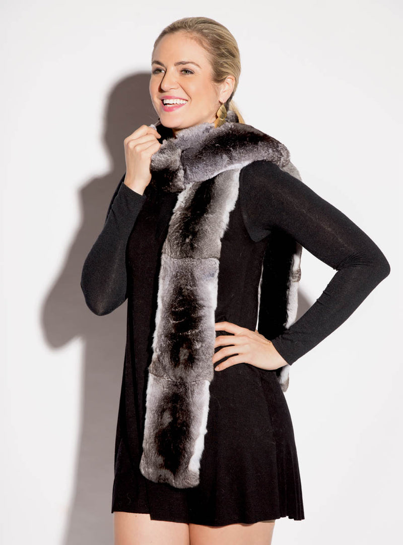 women's chinchilla fur scarf