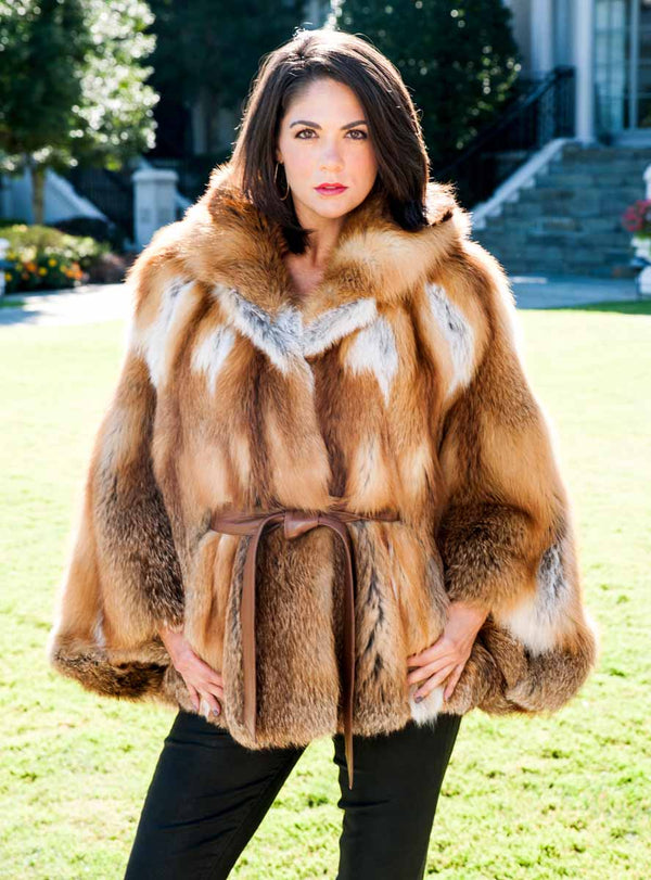 Natural Red Fox Fur Cape