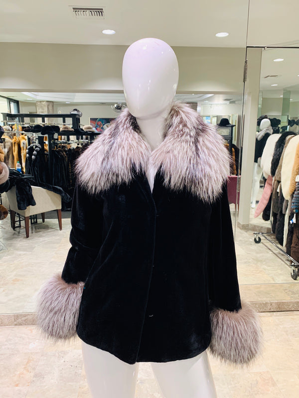 SHEARED MINK JACKET WITH SILVER FOX TRIM