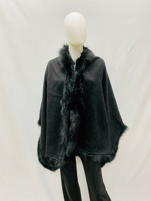 Wool Cape with Fox Trim