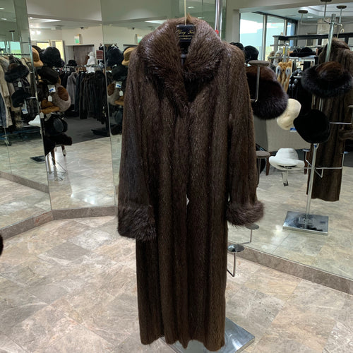 NATURAL NUTRIA COAT WITH SHAWL COLLAR