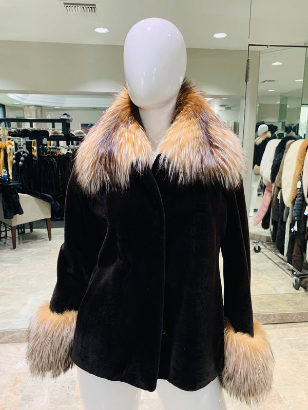 SHEARED MINK JACKET WITH CRYSTAL FOX TRIM