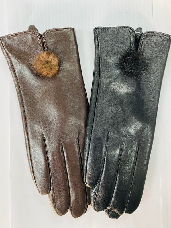 Women's Lamb Leather Gloves with Mink Ball