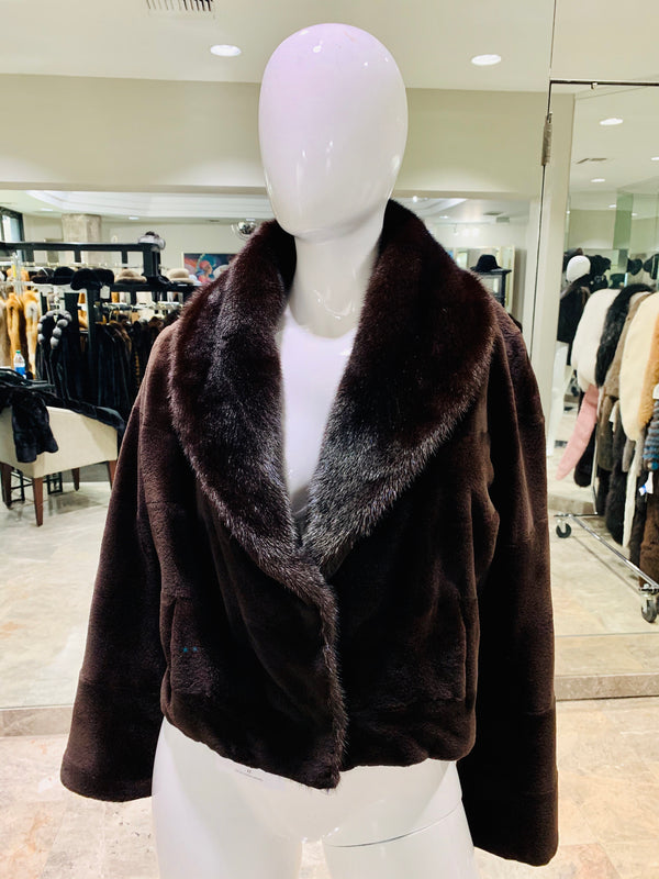 SHEARED MINK JACKET WITH FULL SKIN MINK COLLAR