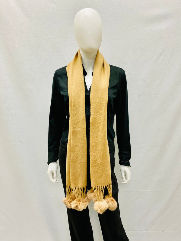 Wool Blend Scarf with Rabbit Trim